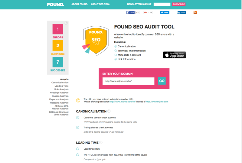 If you're looking for a lightweight and easy-to-use tool Found's SEO Audit Tool is the perfect solution for you.